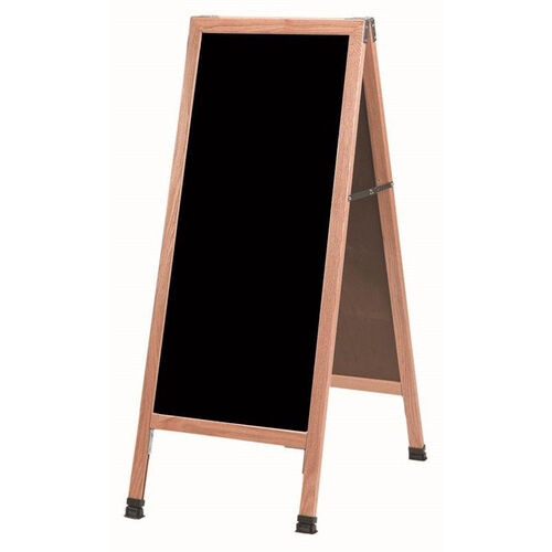 Our A-Frame Sidewalk Black Acrylic Board with Solid Red Oak Frame - 42
