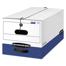 Bankers Box® LIBERTY Heavy-Duty Strength Storage Box - Letter - 12 x 24 x 10 - White/Blue - 4/CT