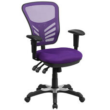 Mid-Back Purple Mesh Multifunction Executive Swivel Chair with Adjustable Arms