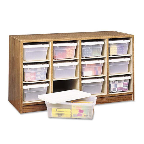 Our Safco® Modular Wood/Plastic 12 Bin Supplies Organizer - 34 x 13 x 19 - Medium Oak/Clear is on sale now.