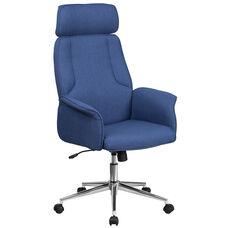 High Back Desk Chair  Blue Upholstered Swivel Chair for Desk and Office
