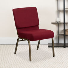HERCULES Series 21''W Stacking Church Chair in Burgundy Fabric - Gold Vein Frame