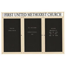 3 Door Outdoor Illuminated Enclosed Directory Board with Header and Ivory Anodized Aluminum Frame - 48