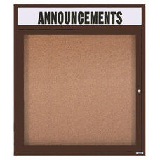 1 Door Indoor Illuminated Enclosed Bulletin Board with Header and Bronze Anodized Aluminum Frame - 36