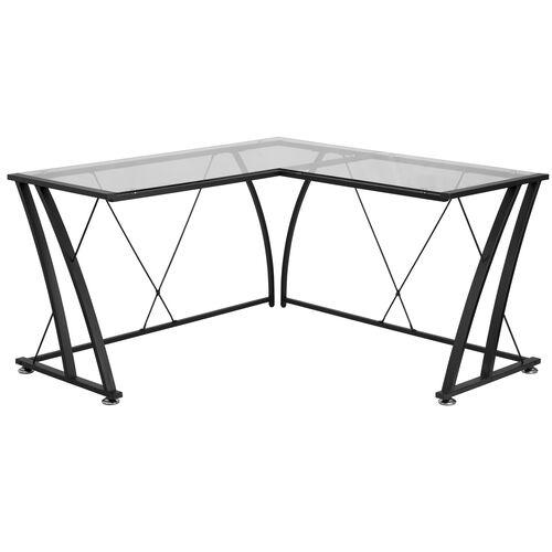 Glass L-Shape Computer Desk with Black Metal Frame