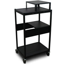 Vizion Spartan Series Classroom Media Projector Cart with One Pull-Out Side-Shelf and Expansion Shelf - Black