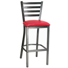 Metal Ladder Back Barstool with Silver Vein Finish