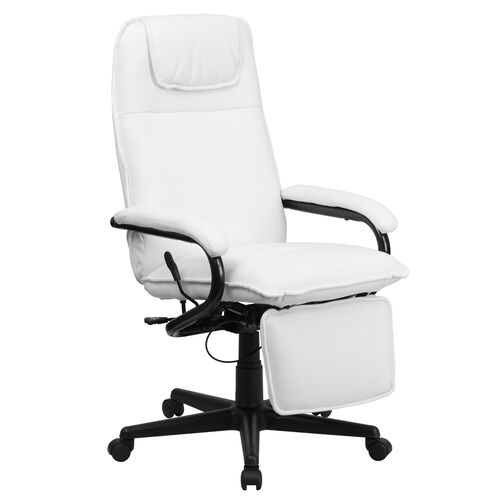 Our High Back White Leather Executive Reclining Ergonomic Swivel Office Chair with Arms is on sale now.