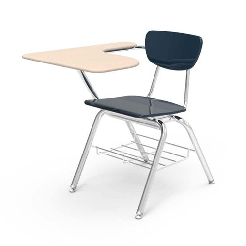 Our Quick Ship 3000 Series Combo Sandstone Hard Plastic Tablet Arm Desk with Navy Seat and Chrome Frame - 20