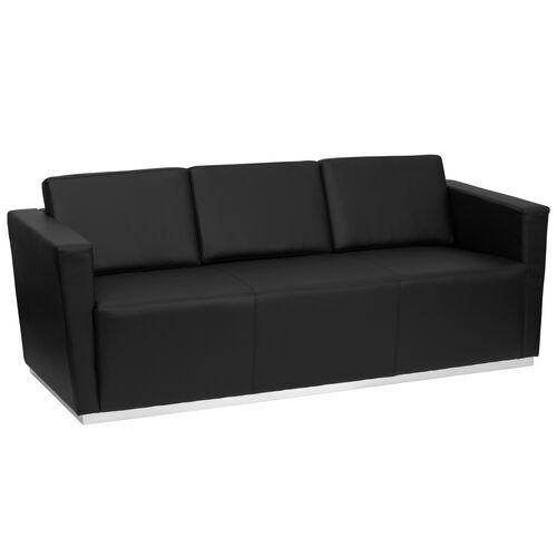 HERCULES Trinity Series Contemporary Black LeatherSoft Sofa with Stainless Steel Base
