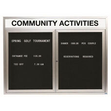 2 Door Indoor Enclosed Directory Board with Header and Aluminum Frame - 36