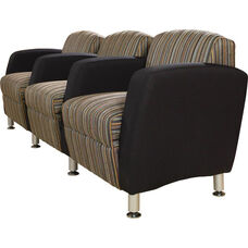 Quick Ship Accompany Three Seater Lounge with Metal Legs