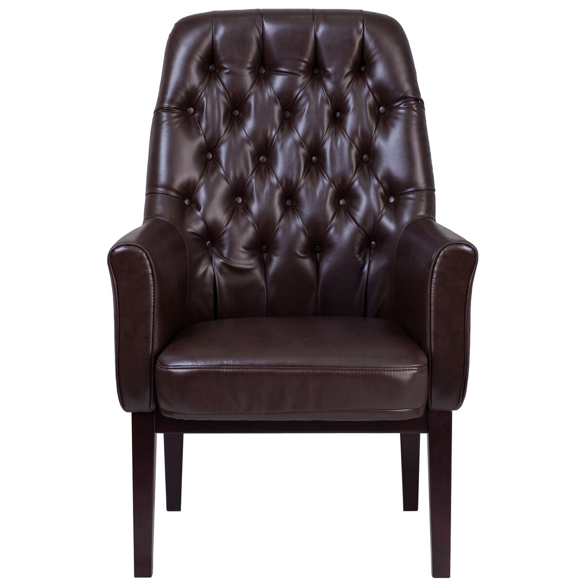 Our High Back Traditional Tufted Brown Leather Side Reception Chair Is On Now