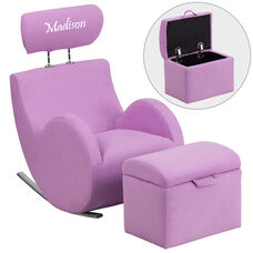 Personalized HERCULES Series Lavender Fabric Rocking Chair with Storage Ottoman