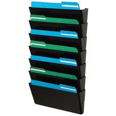 Stackable 7 Pocket Wall Mounted Legal Size Letter Holder - Black