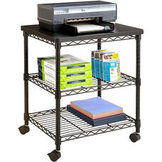24'' W x 20'' D x 27'' H Desk side Wire Machine Stand with Two Sturdy Shelves for Storage - Black