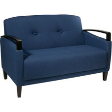 Ave Six Main Street Loveseat with Espresso Finish Legs and Curved Arms - Indigo