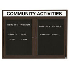 2 Door Outdoor Illuminated Enclosed Directory Board with Header and Black Anodized Aluminum Frame - 36