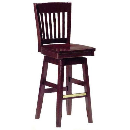 1997 Bar Stool w/ Wood Swivel Seat and Brass Trim on Foot Rest