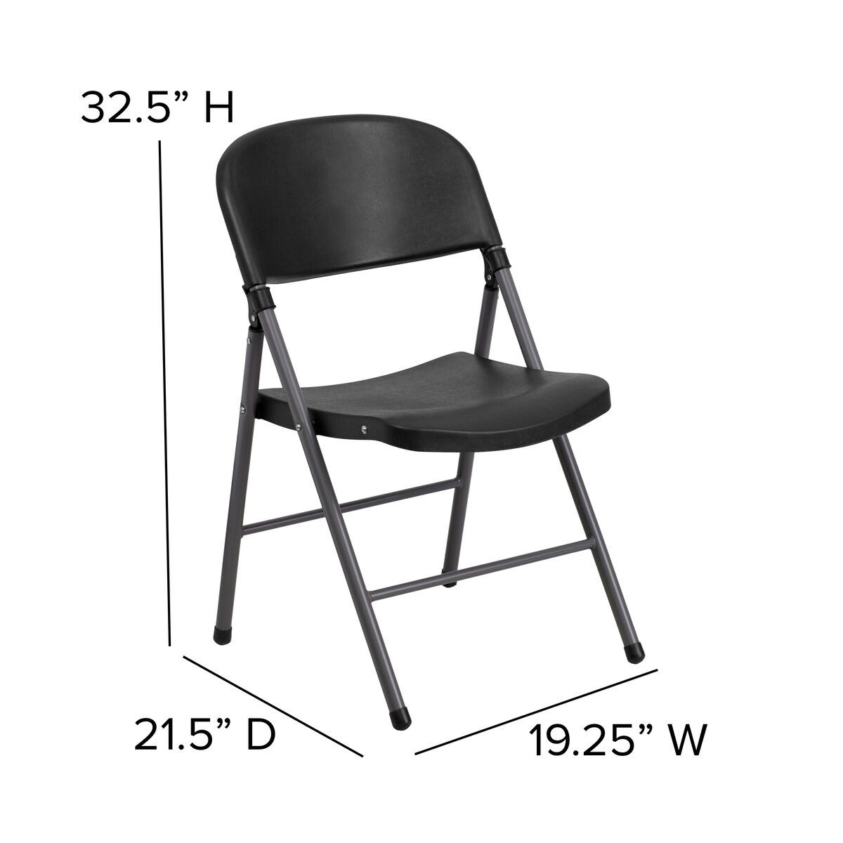 Astonishing Hercules Series 330 Lb Capacity Black Plastic Folding Chair With Charcoal Frame Uwap Interior Chair Design Uwaporg