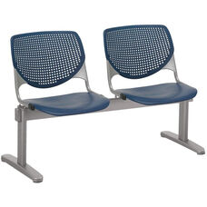 2300 KOOL Series Beam Seating with 2 Poly Perforated Back and Seats with Silver Frame - Navy