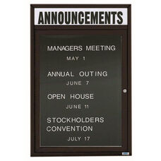 1 Door Indoor Illuminated Enclosed Directory Board with Header and Black Anodized Aluminum Frame - 36