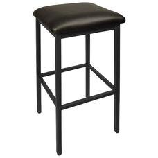 Trent Backless Black Barstool - Black Vinyl Seat