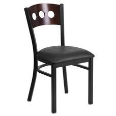 Black Decorative 3 Circle Back Metal Restaurant Chair