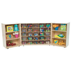 25 Cubby Tri-Fold Cabinet with Additional Shelving on Each Side with Twenty Five Clear Trays - 48