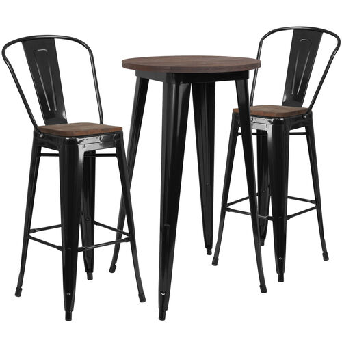 """Our 24"""" Round Black Metal Bar Table Set with Wood Top and 2 Stools is on sale now."""