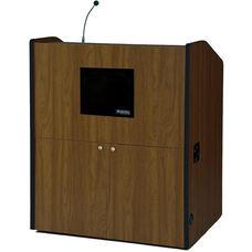 Multimedia Wired 150 Watt Sound Smart Podium - Walnut Finish - 48.5