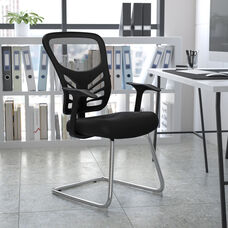 Black Mesh Side Reception Chair with Chrome Sled Base