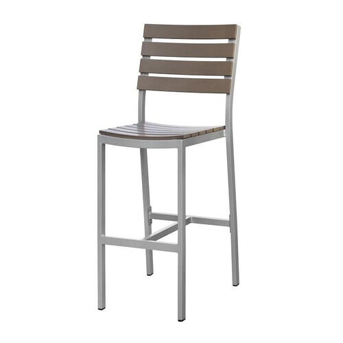 Our Vienna Outdoor Armless Bar Chair with Gray Durawood Slat Back and Seat - Silver Finish is on sale now.
