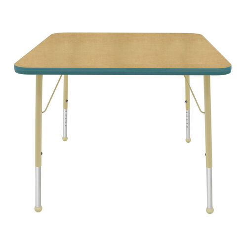 Our Adjustable Standard Height Laminate Top Square Activity Table - Maple Top with Teal Edge and Legs - 36