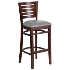 Walnut Finished Slat Back Wooden Restaurant Barstool with Custom Upholstered Seat
