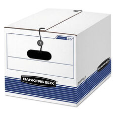 Bankers Box® STOR/FILE Storage Box - Legal/Letter - Tie Closure - White/Blue - 4/Carton