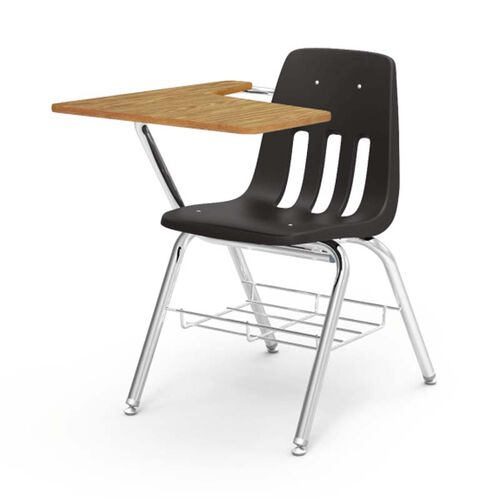 Our 9000 Series Student Combo Desk with Right Handed Medium Oak Laminate Tablet Arm, Chrome Frame, and Black Chair - 20