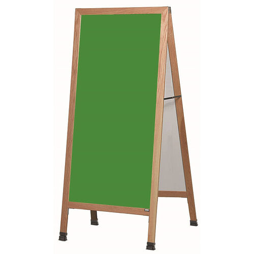 Our Extra Large A-Frame Sidewalk Board with Green Composition Chalkboard and Clear Lacquer Finished Solid Red Oak Frame - 30