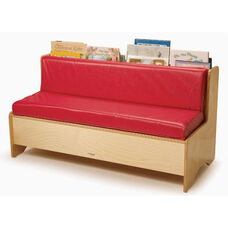 Kids Reading Center Couch with Book Storage and Red Vinyl Cushions