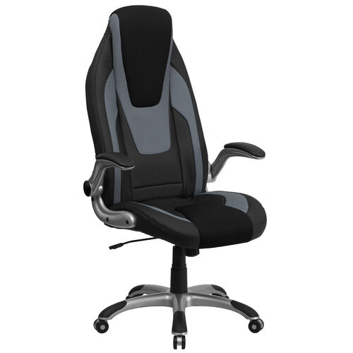 Our High Back Black and Gray Vinyl Executive Swivel Ergonomic Office Chair with Black Mesh Insets and Flip-Up Arms is on sale now.
