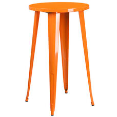 "Commercial Grade 24"" Round Orange Metal Indoor-Outdoor Bar Height Table"