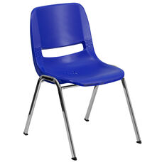 HERCULES Series 880 lb. Capacity Navy Ergonomic Shell Stack Chair with Chrome Frame and 18