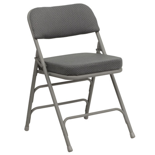 Our HERCULES Series Premium Curved Triple Braced & Double Hinged Gray Fabric Metal Folding Chair is on sale now.