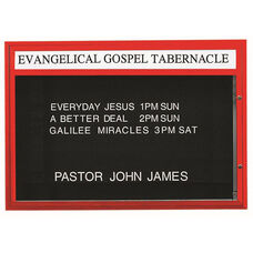 Single Sided Illuminated Community Board with Header and Red Powder Coat Finish - 42