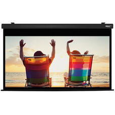 White and Black Wall Mountable Electric Projection Screen with Matte White Fabric Screen and Black Powder-Coated Aluminum Housing - 87