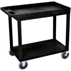 Heavy Duty Molded Thermoplastic Resin 1 Tub/1 Flat Shelf Utility Cart with 5'' Casters and Tub Top Shelf - Black - 35.25''W x 18''D x 33.5''H