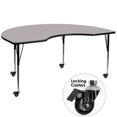 Mobile 48''W x 96''L Kidney Thermal Laminate Activity Table - Standard Height Adjustable Legs