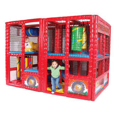 Fire Engine Contained Play Center with Welded Steel Framework and Foam Covered Vinyl Mats - 71