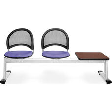 Moon 3-Beam Seating with 2 Lavender Fabric Seats and 1 Table - Mahogany Finish