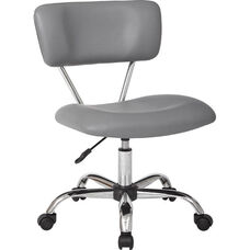 Ave Six Vista Vinyl Task Office Chair with Chrome Finish Base and Casters - Grey